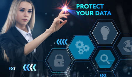 Business, technology, internet and network concept. Young businessman thinks over the steps for successful growth: Protect your data