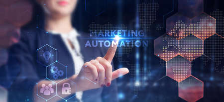 Business, technology, internet and network concept. Young businessman thinks over the steps for successful growth: Marketing automation