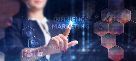 Business, technology, internet and network concept. Young businessman thinks over the steps for successful growth: Influence marketing Foto de archivo