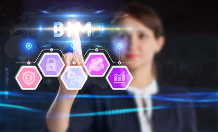 Business, technology, internet and network concept. Young businessman thinks over the steps for successful growth: BIM