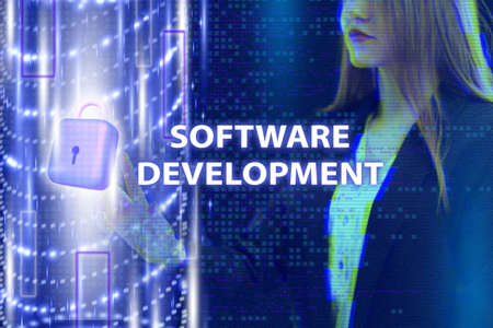 Business, Technology, Internet and network concept. Young businessman working on a virtual screen of the future and sees the inscription: Software development Archivio Fotografico