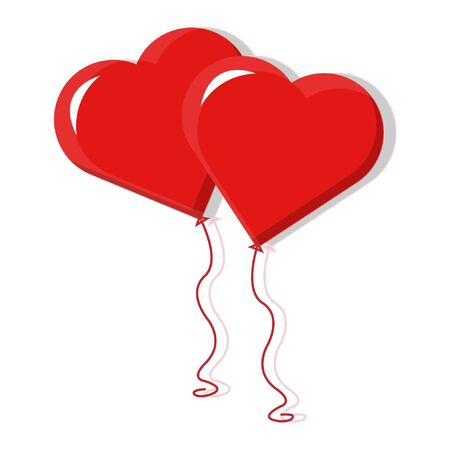 heart shaped balloon vector with a little light and shadow. and isolated white background Ilustracja