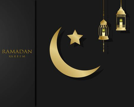 The concept of Ramadan Kareem with gold color. traditional lanterns and the moon. Vector illustration for greeting cards, posters and banners. Vectores
