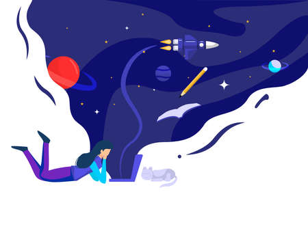 Woman lying in front of a laptop accompanied by a pet cat. millions of inspiration in outer space. vector illustration. Vectores