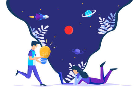 Various creative ideas that emerge in space. women relax in front of a laptop, running friends contribute inspiration. vector illustration.