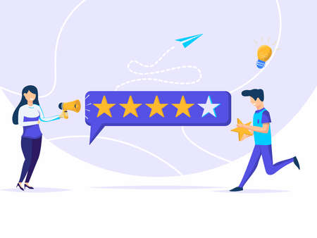 Illustration of customer feedback. women talk to everyone, men run to give and put stars.  イラスト・ベクター素材