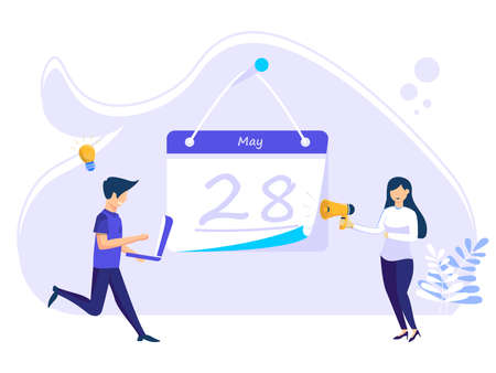 Planning concept. time schedule by filling in the time schedule. vector illustration of teamwork and schedule of events that govern work processes. Illusztráció
