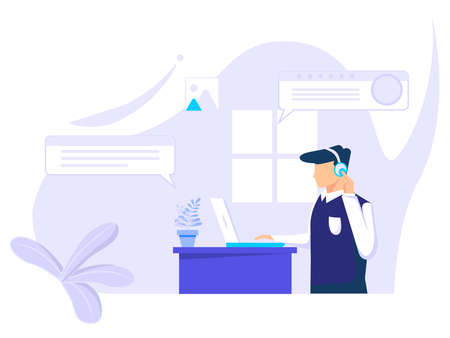 Online virtual chatting and video conferencing using laptops. chatting with friends online. Vector illustration for business people, remote work, technology.