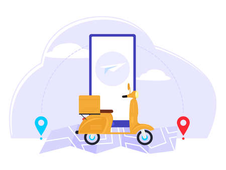 Fast online delivery. Shipping packages or postal packages according to the location provided. Vector illustration in flat style.