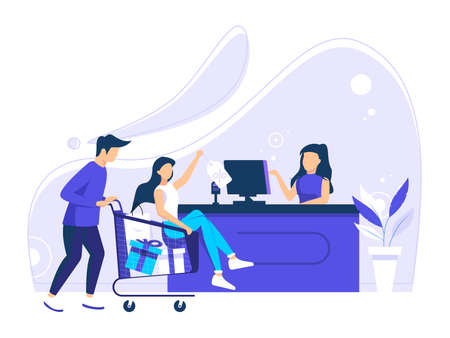Customers Queue at the Grocery or Supermarket Pushing Items in the discount Shopping Trolley. Place Purchases on the Counter to Be Paid. Vector Flat Illustration