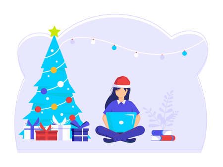 Women sit and finish errands at work at Christmas. job well done and successful. modern vector illustration. Ilustração