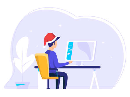 Man who have completed tasks at work. job well done and successful. Completed task. modern vector illustration.