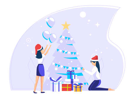 Concept of celebrating Christmas day during work holidays. people prepare for the Christmas party. Cute vector illustrations for greeting cards, social media, web.