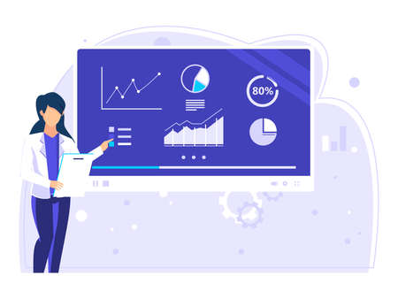 Female workers provide company data results on the big screen. used for web, social media, posters. modern flat style illustration.