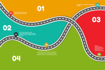 Road infographics. Five step infographic and four colored border. Vector illustration