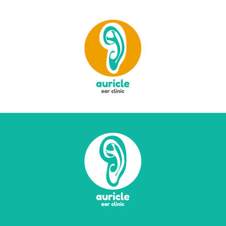 ear acupuncture: Template logo for auricle. Ear clinic logo Illustration