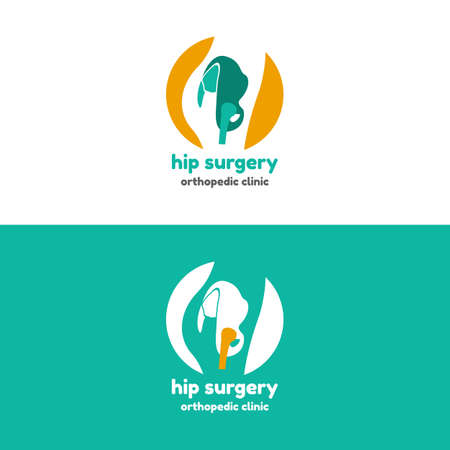 Template logo for hip surgery. Orthopedic clinic logo Illustration