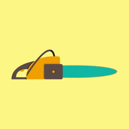 Vector illustration of chainsaw on a yellow background
