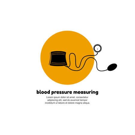 systolic: Blood pressure measuring logo concept. Vector illustration