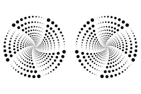 globe logo: Vector illustration of radial black dots. Halftone concept Illustration