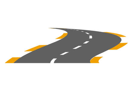 Vector illustration of paved road on a white background Illustration