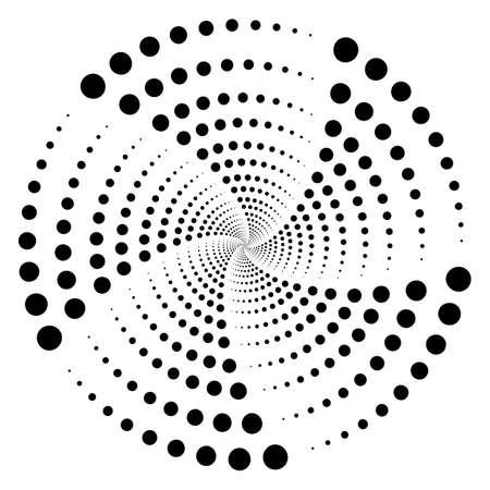 Illustrazione vettoriale di punti neri radiali. Concetto di mezzitoni