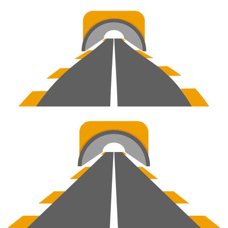 Vector illustration of road with tunnel. Solid line on a white background Illustration
