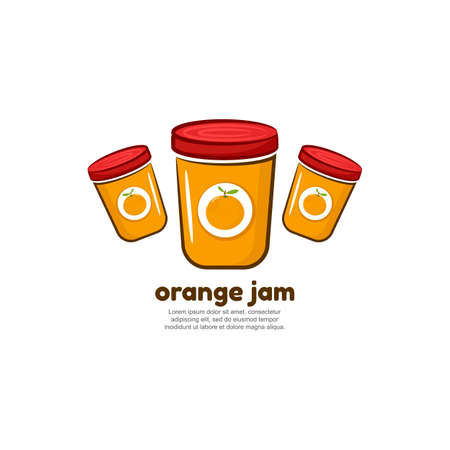 Template logo for orange jam. Bank of delicious jam
