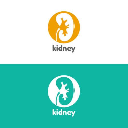 urology: Human kidneys logo vector illustration.