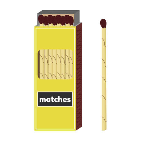 Vector illustration of long fireplace matches