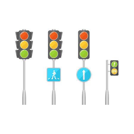 Set of traffic lights. Vector illustration.