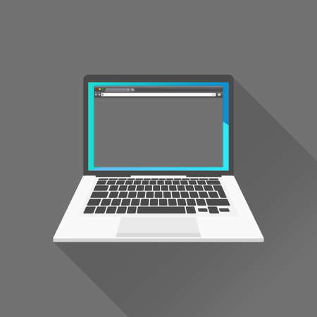 Vector illustration of dark interface on laptop on black background Illustration