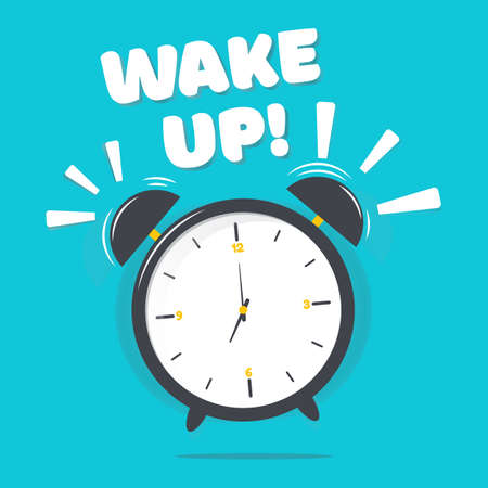 Vector illustration of alarm clock with wake up text