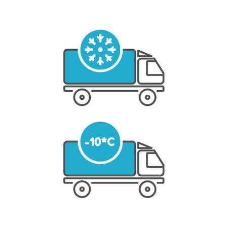 Ice cream delivery fridge truck icons Vector Illustratie