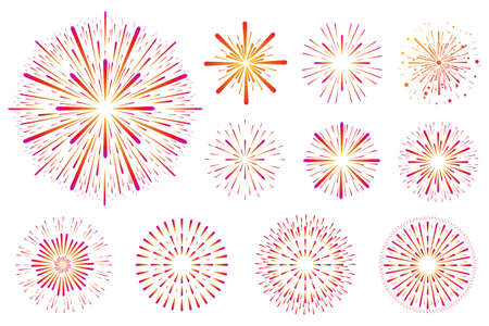 Set of festive colored fireworks isolated on white background Illustration