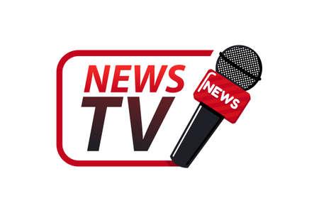 Notizie tv logo design template vettoriale isolato su uno sfondo bianco.