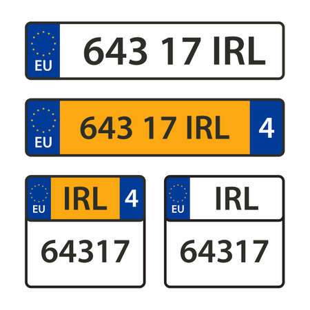 Vector collection of car number plates.