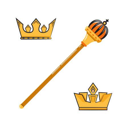 Vector illustration of cartoon scepter and crowns. Illustration