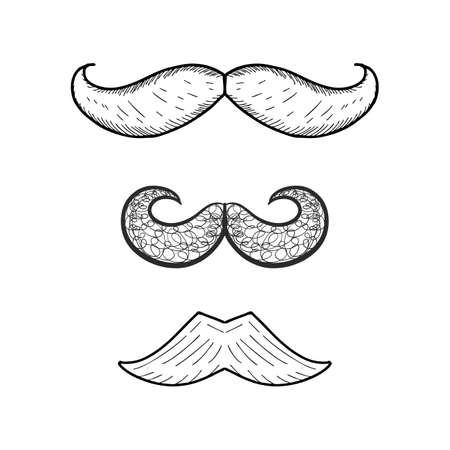 Vector collection of hand drawn mustache