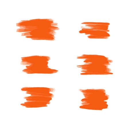 Vector collection of orange acrylic brush