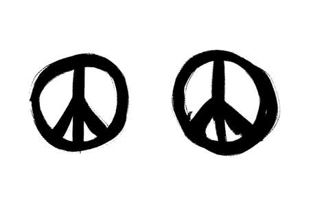 illustration of hand drawn peace symbols