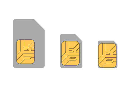 Set of sim cards. Vector illustration.