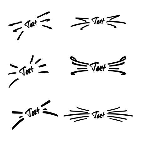 Vector illustration set of handmade sunbursts for text.