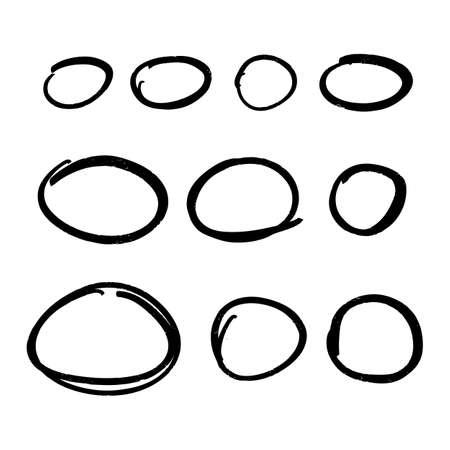 Sammlung von handgezeichneten Textmarkerkreisen.