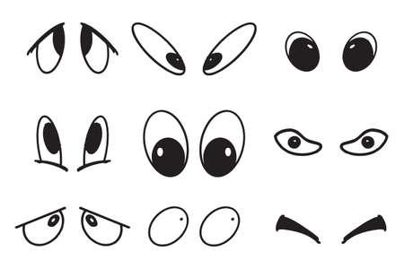 Vector illustration of cartoon eyes set. Illustration