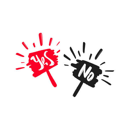 Yes and No poster hand drawn modern brush lettering text. Vector illustration for webpage, print and advertising