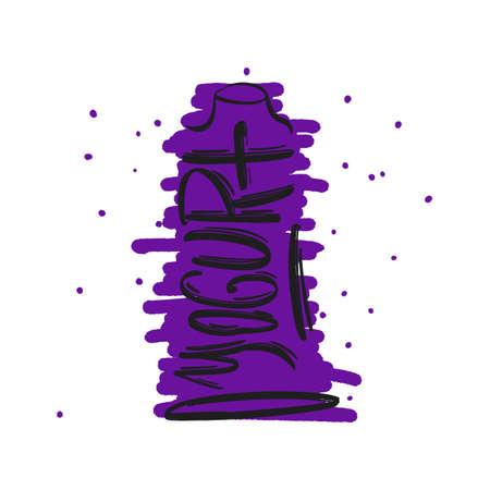 Texte de lettrage de brosse moderne dessiné à la main de yogourt avec forme de bouteille. Illustration vectorielle du logo de l'entreprise pour la page Web, l'impression et la publicité