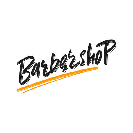 Barbershop hand drawn modern brush lettering text. Vector illustration of business logo for webpage, print and advertising Illustration