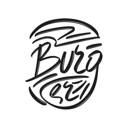 Burger hand drawn modern brush lettering text. Vector illustration of business logo for webpage, print and advertising