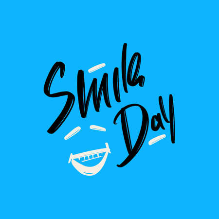 Smile Day hand drawn modern brush lettering text. Vector illustration of greeting, print and advertising Illusztráció